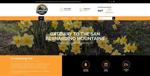 Donated Website to Running Springs Area Chamber of Commerce (Above Fold)