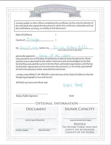 Acknowledgement Notarization