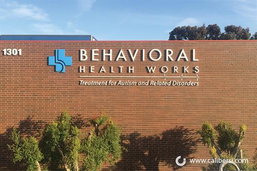 Exterior wall signage for Behavioral Health Works in Anaheim, CA.
