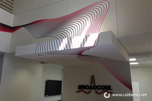 Lobby sign and wall graphics for Broadcom, Irvine, CA