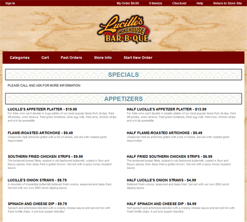 Mobile online ordering menu website