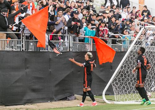 Dutch winger Jerry Van Ewijk celebrates with the fans after a goal vs. LA Galaxy II