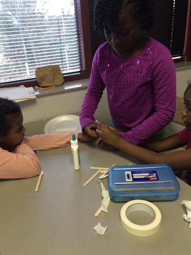 "Students designing a ""Bridge"" for their STEM project"