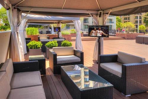 Enjoy the newly renovated, award winning sundeck lounge at Wheaton Center!