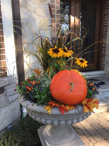 Our fall urns are festive and colorful.
