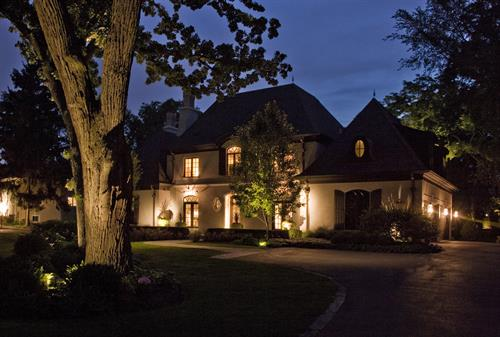 Elegant into the evening with thoughtful landscape lighting.