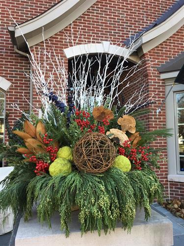 Beautiful urns make your entrance stunning - even in winter!