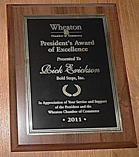 Happy to receive recognition from the Wheaton Chamber (Visionary Award, Presidents Award, Spirit Award 2010 - 2012)