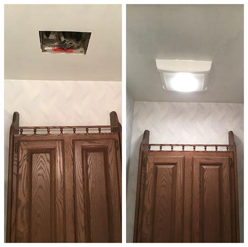 Install new fan in ceiling bathroom.