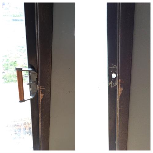 Reattach sliding door handle that fell off the door