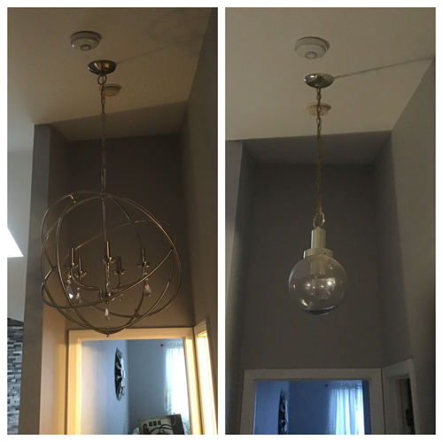 Install new hanging light fixture in second story hallway