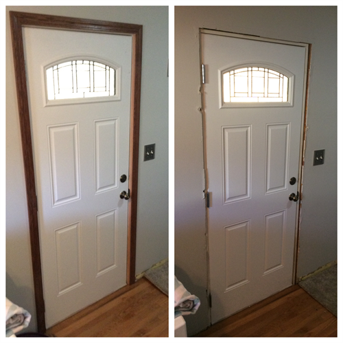 Install new trim around your front door to change the look of your entrance.