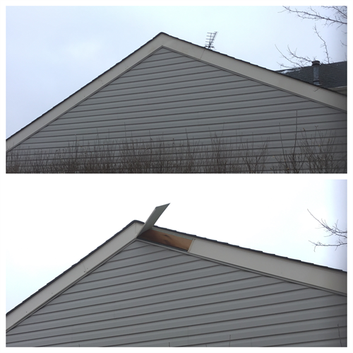 Repair fascia on second story of home that came loose from storms.