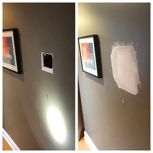 Drywall repair in hallway to paint ready finish