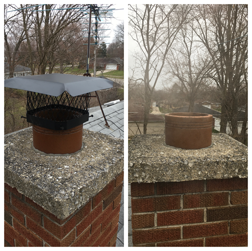 Replace chimney cap on roof