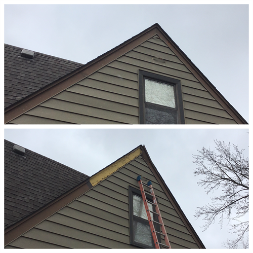 Repair fascia that fell off second story of home