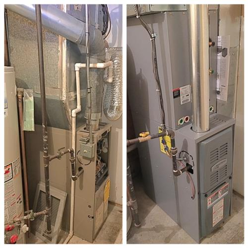 80% 70K BTU Furnace Install Before & After