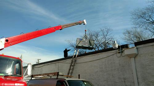 Installing New RTU - Commercial Roof Top Unit.