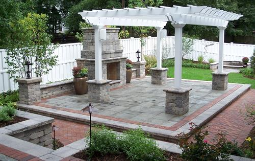 Patio, pergola and outdoor fire place
