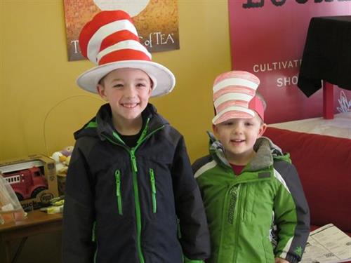 Two friends celebrating Read Across America Day at Chapters
