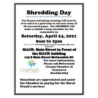 Shredding Day & Drug Take Back Day - Sponsored by Chamber of Commerce
