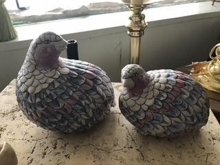 Colorful ceramic partridges