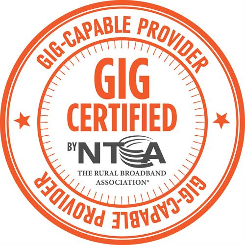 WCTEL is Gig Certified by the NTCA - The Rural Broadband Association