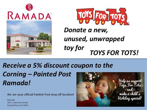 Toys For Tots Corporate Flyer : Ramada corning painted post donation location for toys