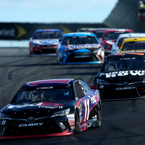Denny Hamlin leads during NASCAR's annual visit to Watkins Glen International.