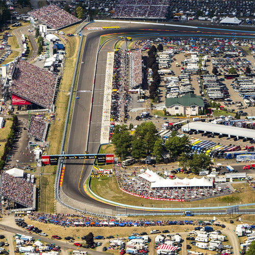 Watkins Glen International from above during NASCAR weekend.