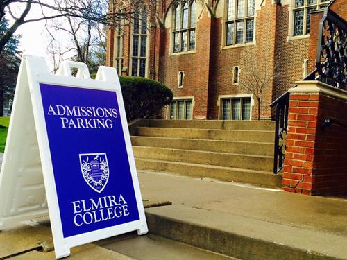 Corrugated plastic signs for Elmira College Admissions