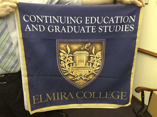 Full-color table runner for Elmira College Continuing Education and Graduate Studies