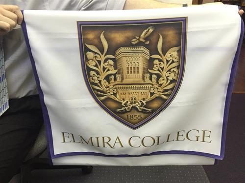Full-color table runner for Elmira College Admissions