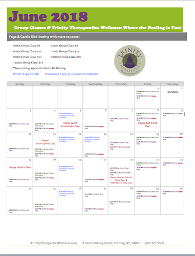 Our June Yoga Schedule
