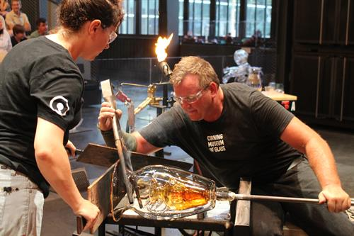 "Hot Glass Show, included in admission. George Kennard creating a ""Vase in a vase, in a vase!"""