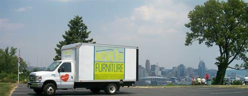 One of our Trucks with the  Cincinnati skyline.