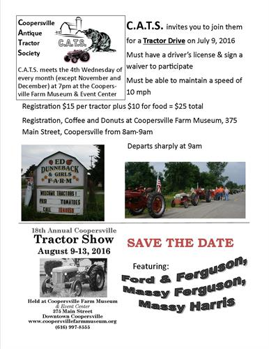 Coopersville Antique Tractor Society meets the 4th Wednesday of the month