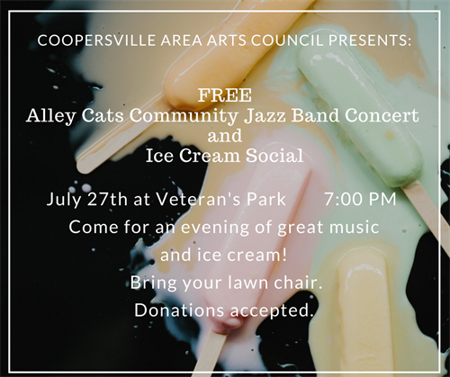 Yearly Community Jazz Band Concert / Ice Cream Social at Vet's Park