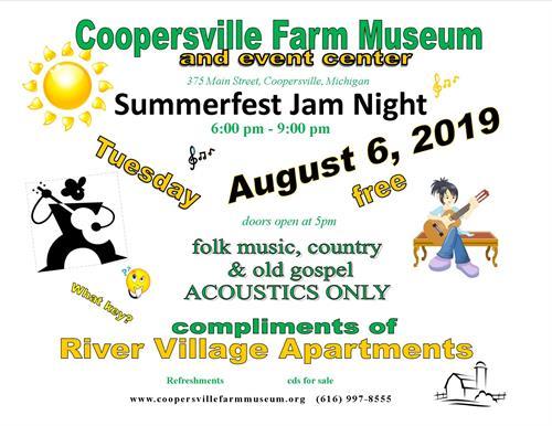 Summertime Jam Night - Aug 6, 2019 - Coopersville Area