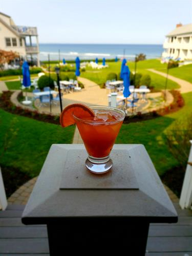Enjoy our full service bar & restaurant overlooking the ocean.  Walk in from the Marginal Way