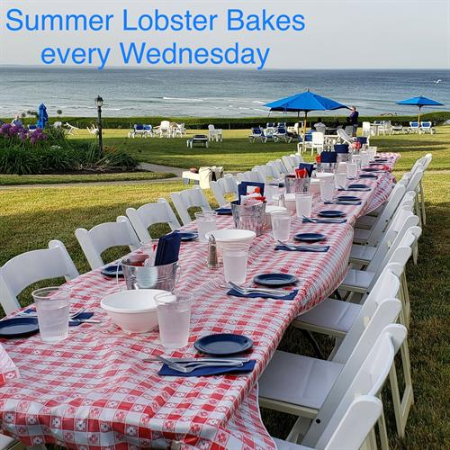 During the summer, we offer outdoor lobster bakes on our oceanfront lawn (open to the public)