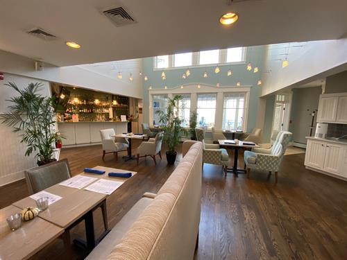 Blue Bistro offers initimate indoor dining with ocean views or outdoor dining under umbrealls overlooking the ocean.
