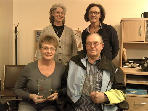 Mel and Cate Gunson, Volunteers Extra-ordinaire, with CEO Teren and staff Mieke (2012)