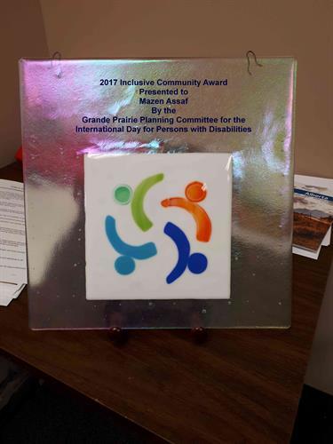 IPDD Community Inclusion Award to Mazen Asaf.  (2017)