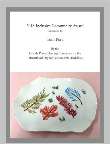 IDPD Community Inclusion Award to Tom Pura. (2018)