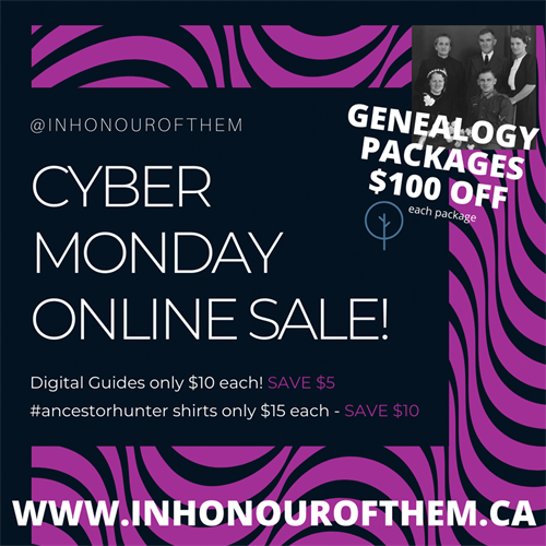 $100 off genealogy packages for Cyber Monday plus discounts on General Store products