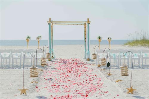 Treasure Island Beach Wedding Package - Lovely w/ Rose Petal Aisle Way