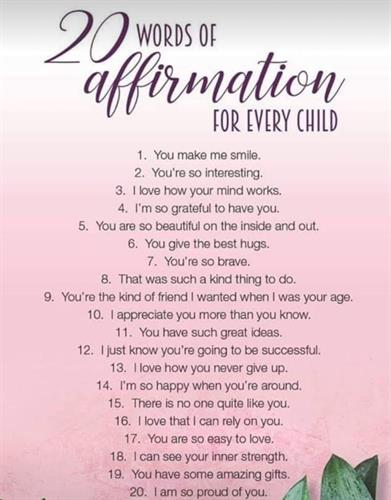 Love this list of positive things we can tell our youth that will uplift them!