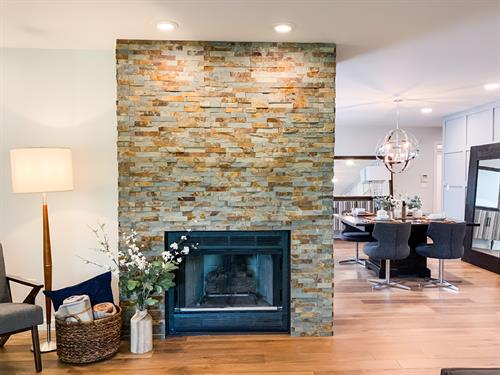 Modern Ranch Stacked Stone Fireplace Floor-to-Ceiling