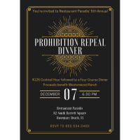Restaurant Paradis Announces Fifth Annual Prohibition Wine Dinner to Benefit Westonwood Ranch